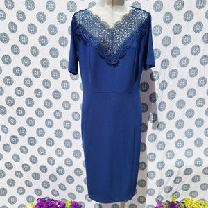 T TAHARI BLUE 3/4 SLEEVE DRESS SZ 12 NWT